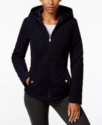Laundry By Design Petite Faux Fur Lined Hooded Quilted Jacket Navy