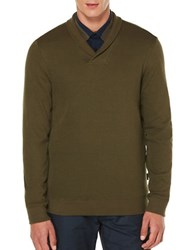 Perry Ellis Textured Cotton Blend Sweater Forest Pine