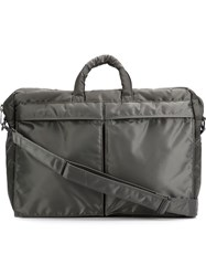 Porter Yoshida And Co Glossy Zip Up 'Tanker 2' Briefcase Grey