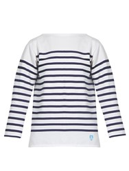 Orcival Breton Striped Cotton Top White Navy
