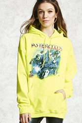 Forever 21 Atari Asteroids Graphic Hoodie Neon Yellow Blue