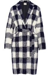 Sea Belted Gingham Knitted Coat
