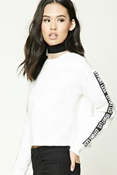 Forever 21 Effortless Graphic Sweatshirt Cream Black