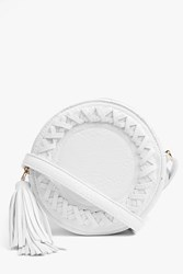 Boohoo Structured Plait Detail Cross Body Bag White