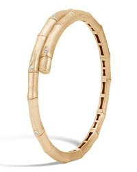 John Hardy Bamboo 18K Gold Diamond Small Single Coil Bracelet