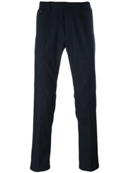 Paolo Pecora Slim Fit Tailored Trousers Blue