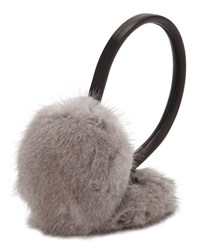 Surell Leather And Mink Fur Earmuffs Gray Black Grey Black