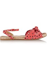 Charlotte Olympia Marina Printed Poplin Espadrille Sandals Red