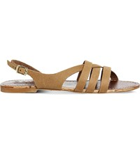 Office Bamboo Leather Strappy Flat Sandals Tan Leather