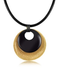 Stefano Patriarchi Etched Golden Silver And Onyx Round Pendant W Leather Lace