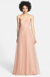 Women's Jenny Yoo 'Annabelle' Convertible Tulle Column Dress Cameo Pink