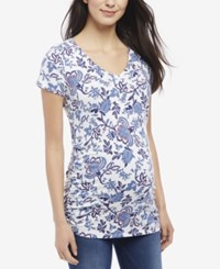 Motherhood Maternity Printed T Shirt Blue Print