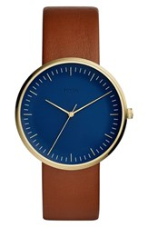 Fossil Essentialist Leather Strap Watch 42Mm Brown Blue Gold