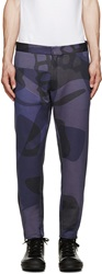 Alexander Mcqueen Blue Camo Skull Lounge Trousers