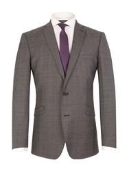 Racing Green Check Notch Collar Tailored Fit Suit Jacket Charcoal