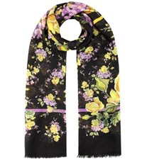 Dolce And Gabbana Floral Printed Cashmere Scarf Black
