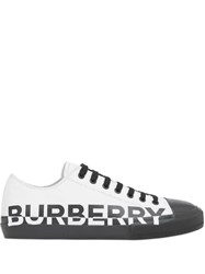 Burberry Logo Print Two Tone Cotton Gabardine Sneakers White
