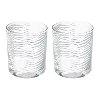 Roberto Cavalli Zebra Old Fashioned Glass Tumblers Set Of 2 Silver
