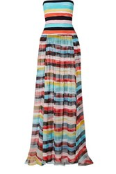 Caroline Constas Marianna Strapless Striped Silk Chiffon And Stretch Jersey Maxi Dress Blue