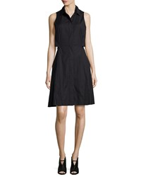 Proenza Schouler Sleeveless Collared Shirtdress Black