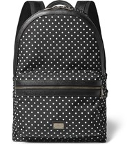 Dolce And Gabbana Polka Dot Leather Trimmed Satin Backpack Black