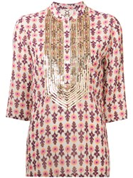 Figue Sequin Embellished Kaftan Blouse Nude Neutrals