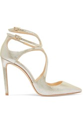 Jimmy Choo Lancer Metallic Cracked Leather Pumps Silver