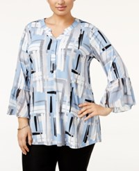 Alfani Plus Size Printed Ruffle Sleeve Blouse Only At Macy's Bold Lines Blue