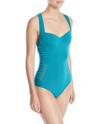 Jets By Jessika Allen Banded Side Stripe One Piece Swimsuit Green