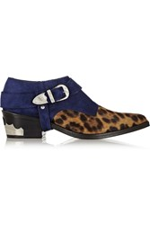 Toga Suede And Leopard Print Calf Hair Ankle Boots Animal Print