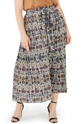 Elvi Plus Size Women's Pleat Print Maxi Skirt
