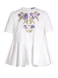 Alexander Mcqueen Embroidered Cotton Pique Blouse White