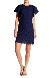 J. Crew Factory Butterfly Sleeve Eyelet Shift Dress Blue