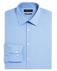 Bloomingdale's The Men's Store At Micro Outline Check Contemporary Fit Dress Shirt Blue