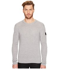 Belstaff Malwood Silk Cashmere Blend Sweater Pale Grey Melange Men's Sweater White