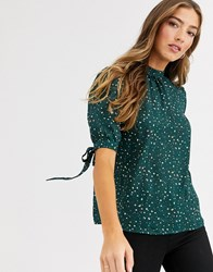 Fashion Union High Neck Top With Tie Sleeve Detail Green
