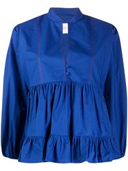 La Doublej Quintana Tiered Poplin Top Blue