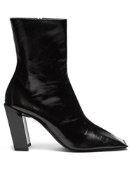 Balenciaga Quadro Square Toe Leather Boots Black