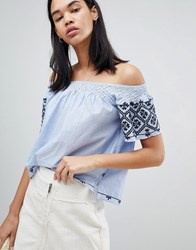 Pepe Jeans Paola Off Shoulder Embroidered Top Blue