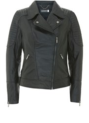 Mint Velvet Black Stitch Washed Biker Jacket Black