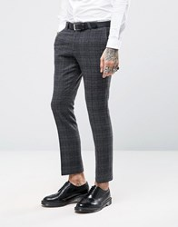 Noose And Monkey Super Skinny Suit Trousers In Brushed Check Grey