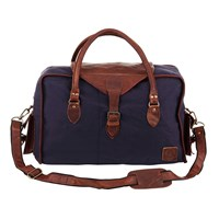 Mahi Leather Galley Bag Weekend Overnight Holdall In Navy Blue Canvas