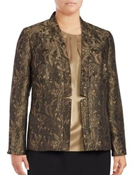 Nipon Boutique Plus Floral Jacquard Blazer Black Gold