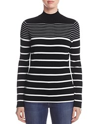 Marled Striped Funnel Neck Sweater Black White