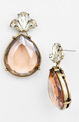 Women's Robert Rose Large Teardrop Earrings Peach Brass Ox
