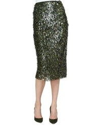 Lela Rose Fringe Embellished Pencil Skirt Olive Gold Green Gold Women's