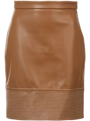 Christian Siriano Stitch Detail Fitted Skirt Brown