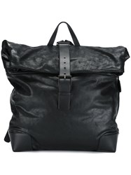Giorgio Armani Buckle Flap Backpack Black