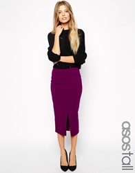 Asos Tall Midi Pencil Skirt With Front Split Burgandy