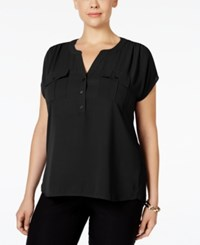 Inc International Concepts Plus Size Mixed Media Utility Shirt Only At Macy's Deep Black